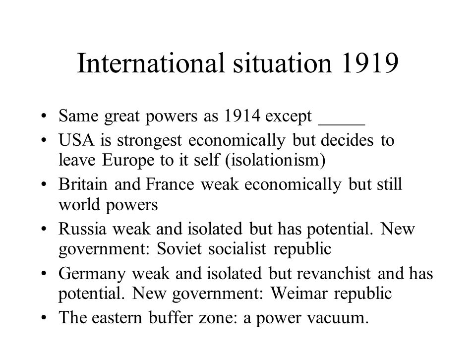 International situation 1919