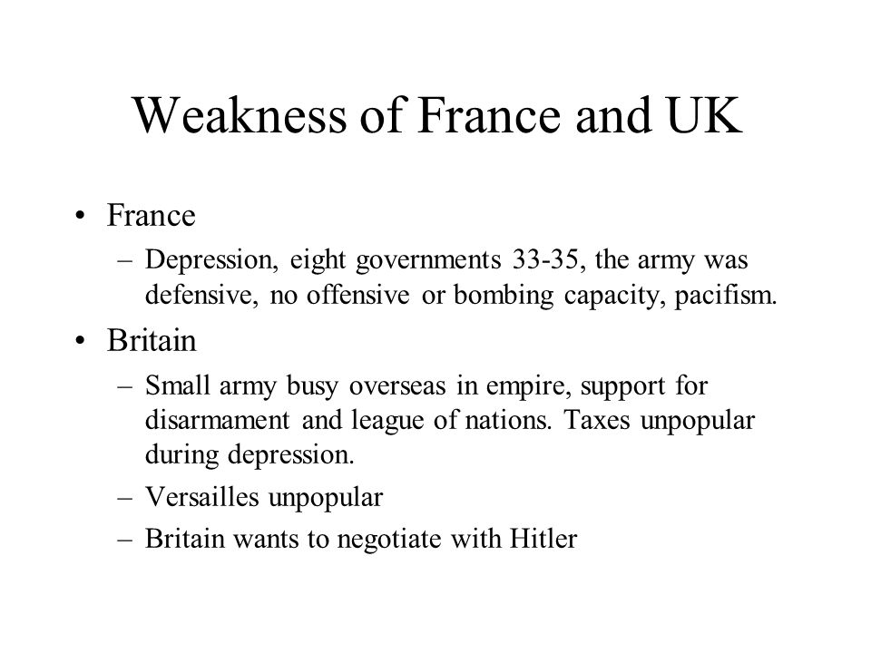 Weakness of France and UK