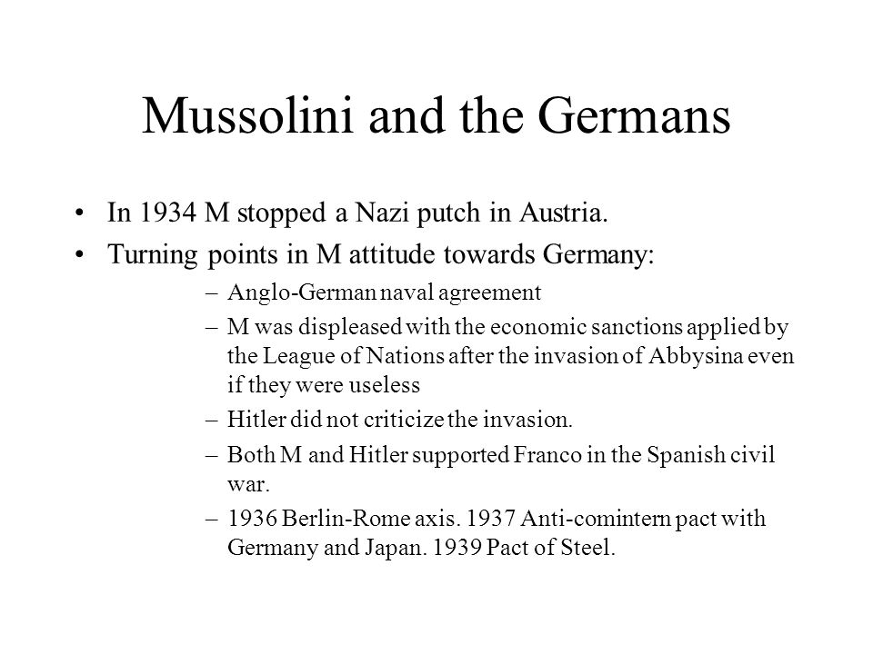 Mussolini and the Germans