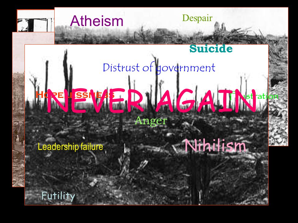 NEVER AGAIN Nihilism Atheism Suicide Distrust of government Anger