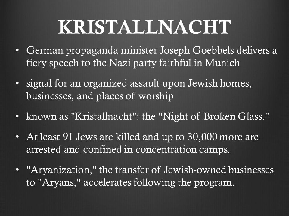KRISTALLNACHT German propaganda minister Joseph Goebbels delivers a fiery speech to the Nazi party faithful in Munich.
