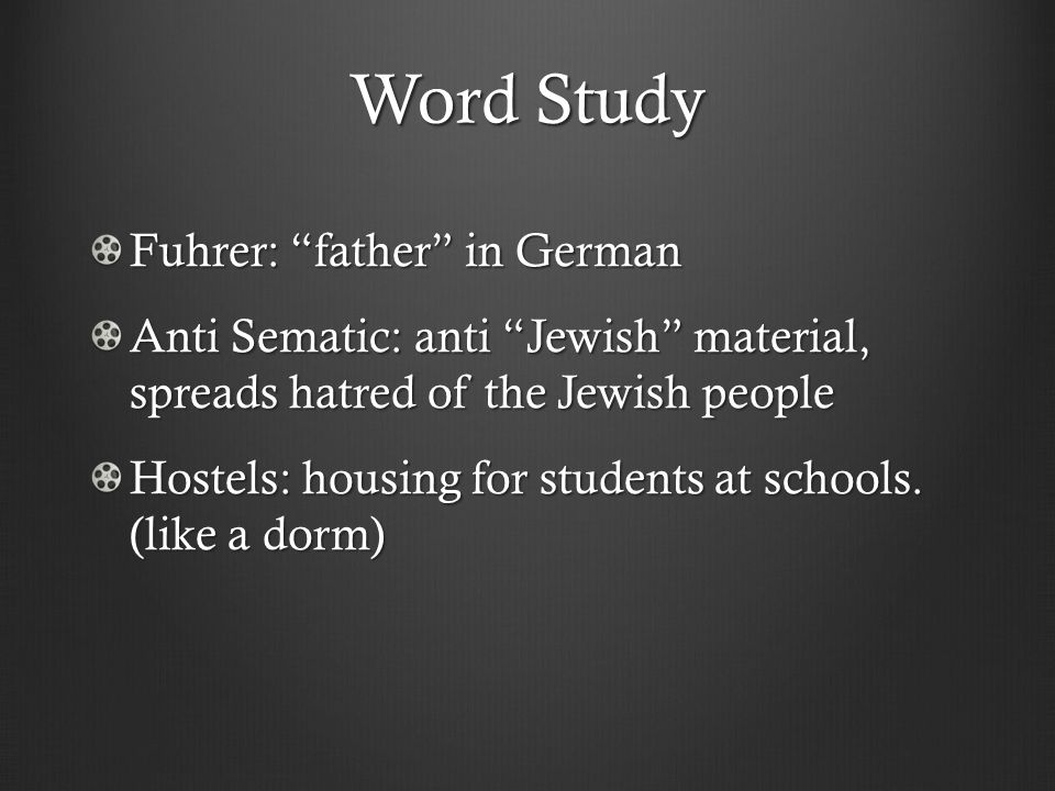 Word Study Fuhrer: father in German