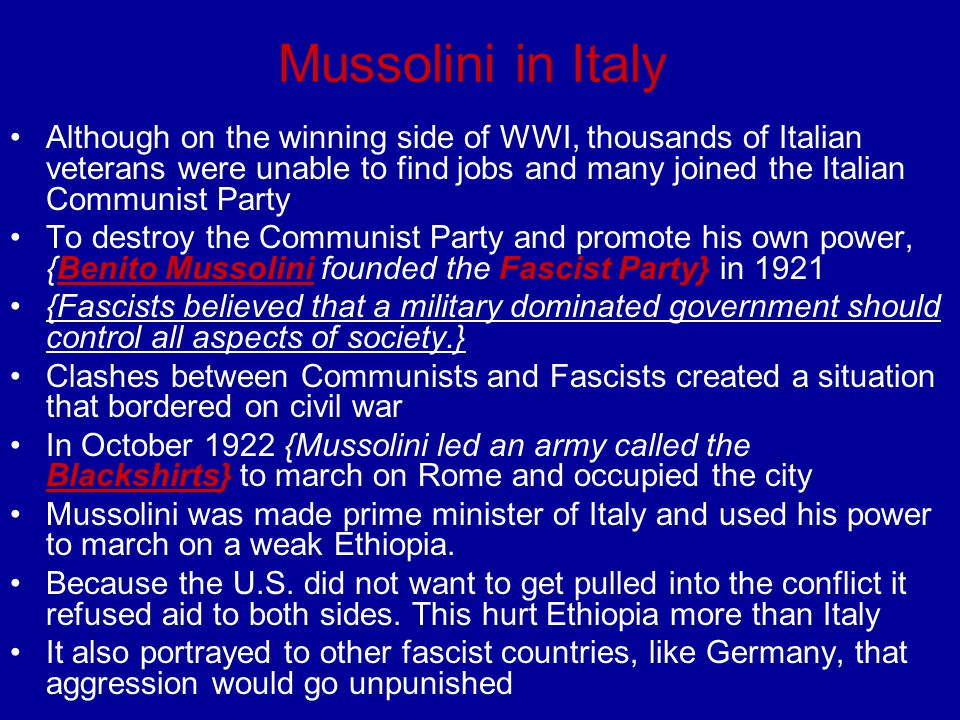 Mussolini in Italy
