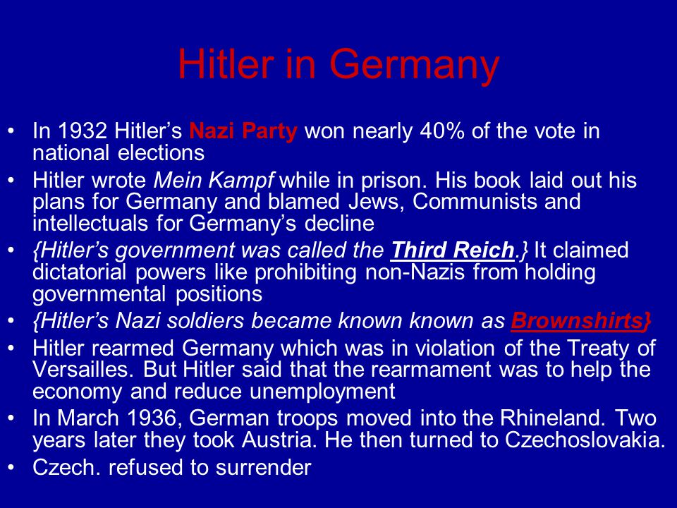 Hitler in Germany In 1932 Hitler's Nazi Party won nearly 40% of the vote in national elections.