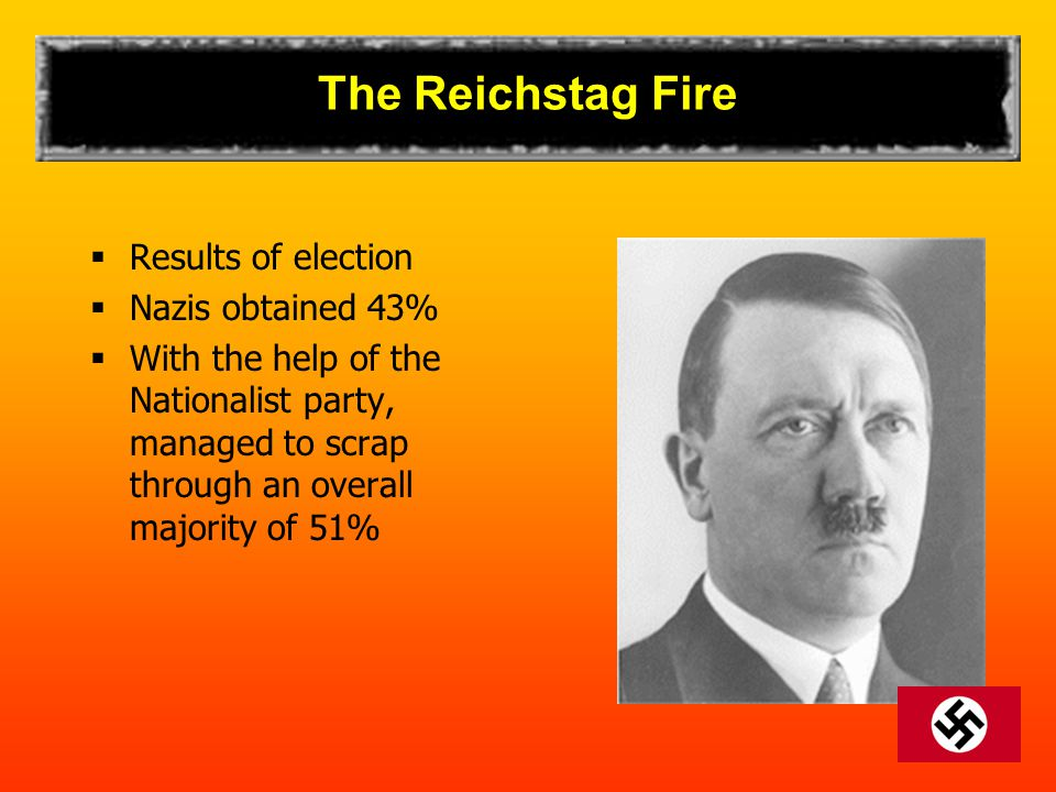 The Reichstag Fire Results of election Nazis obtained 43%