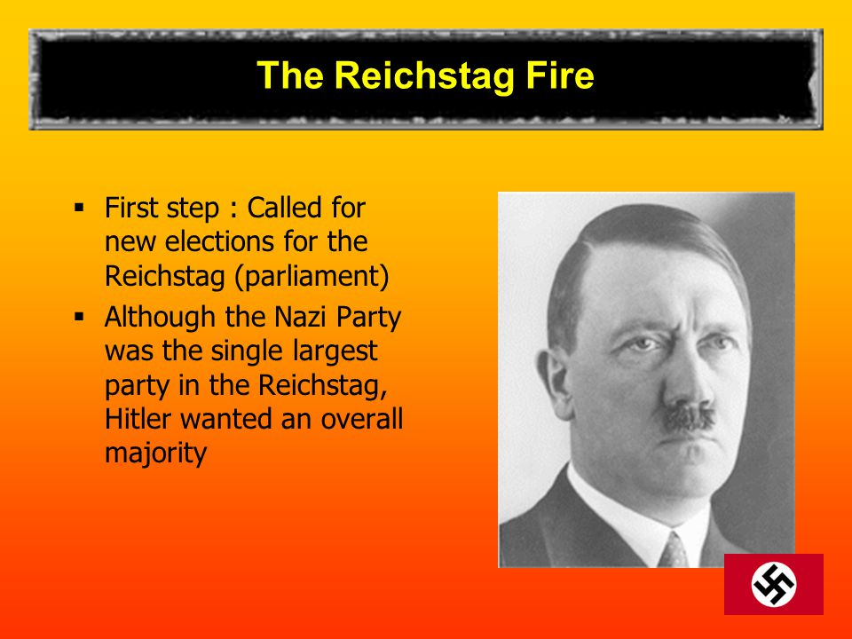 The Reichstag Fire First step : Called for new elections for the Reichstag (parliament)