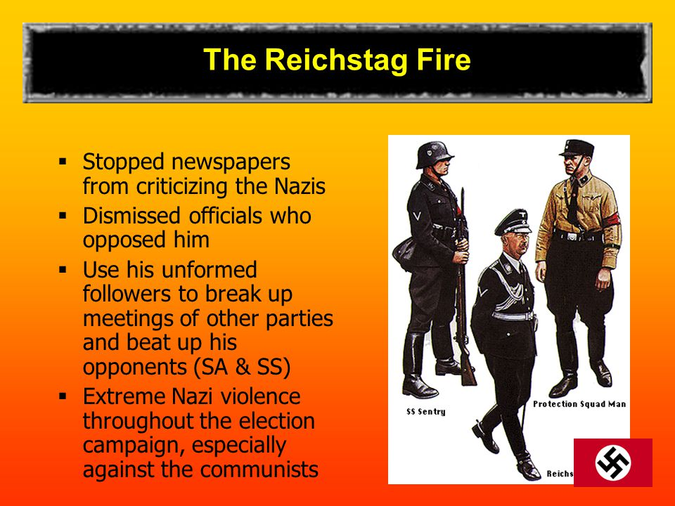 The Reichstag Fire Stopped newspapers from criticizing the Nazis