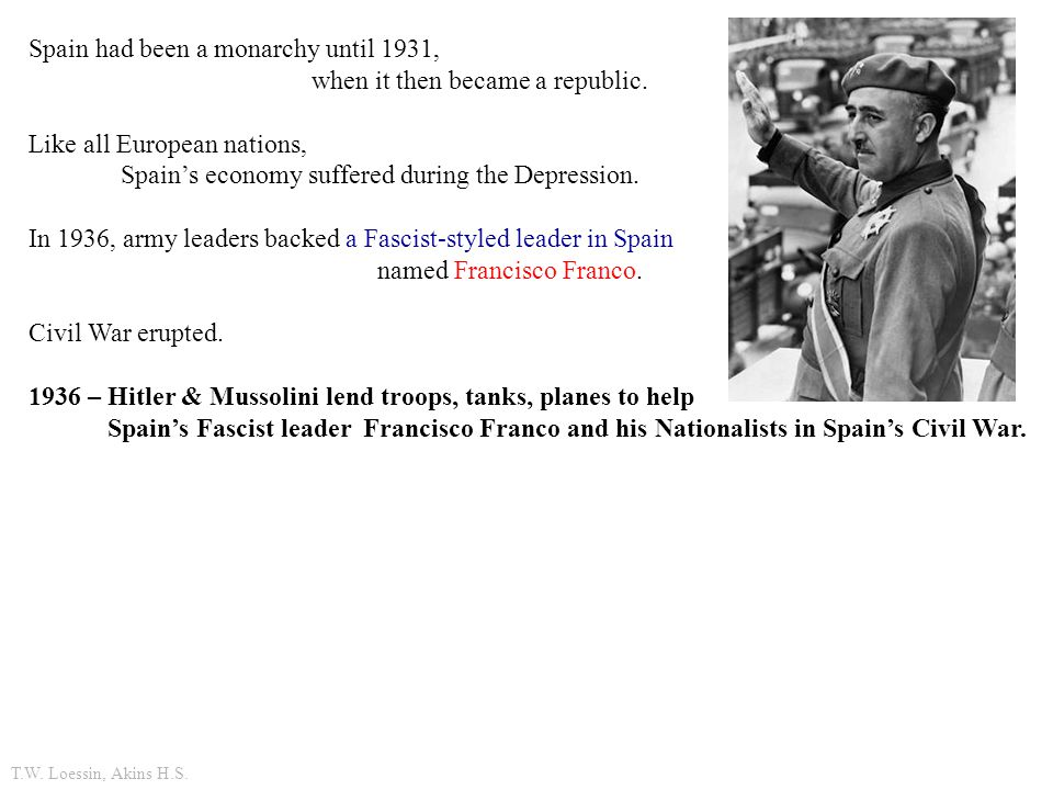 Spain had been a monarchy until 1931, when it then became a republic.