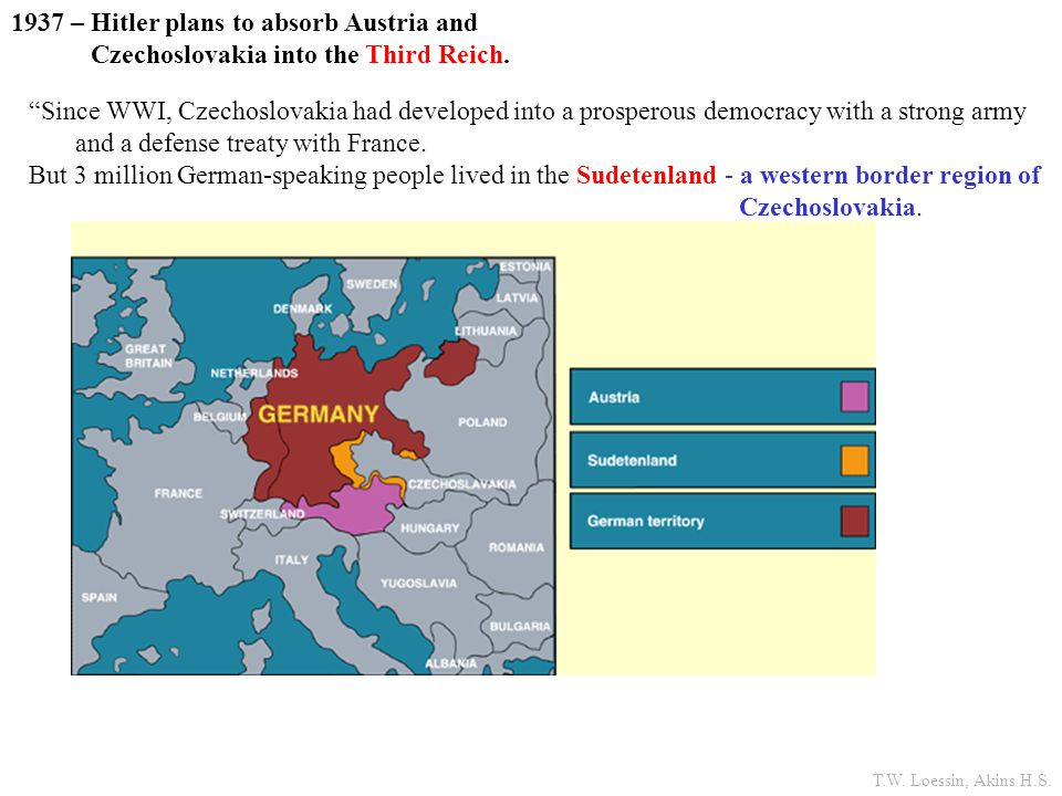 1937 – Hitler plans to absorb Austria and