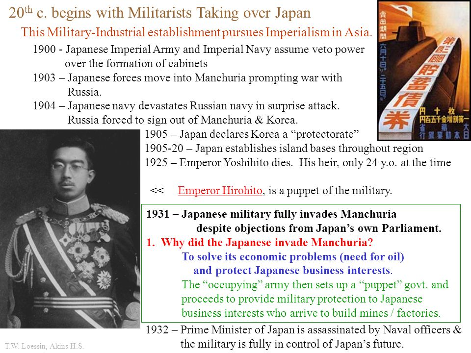 20th c. begins with Militarists Taking over Japan