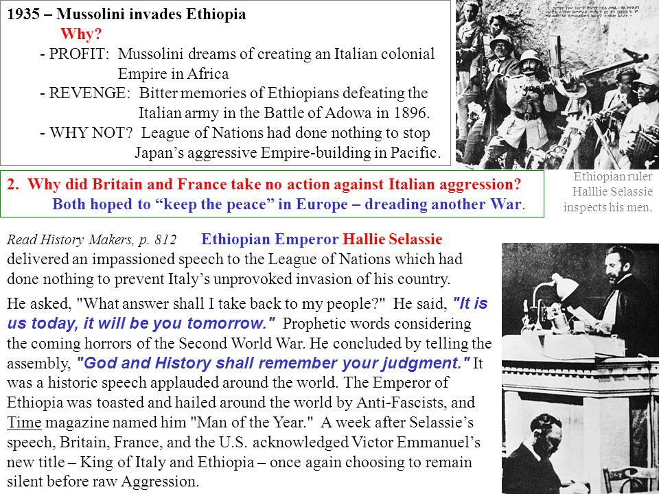 1935 – Mussolini invades Ethiopia Why
