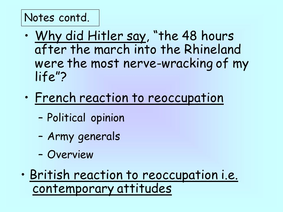 French reaction to reoccupation