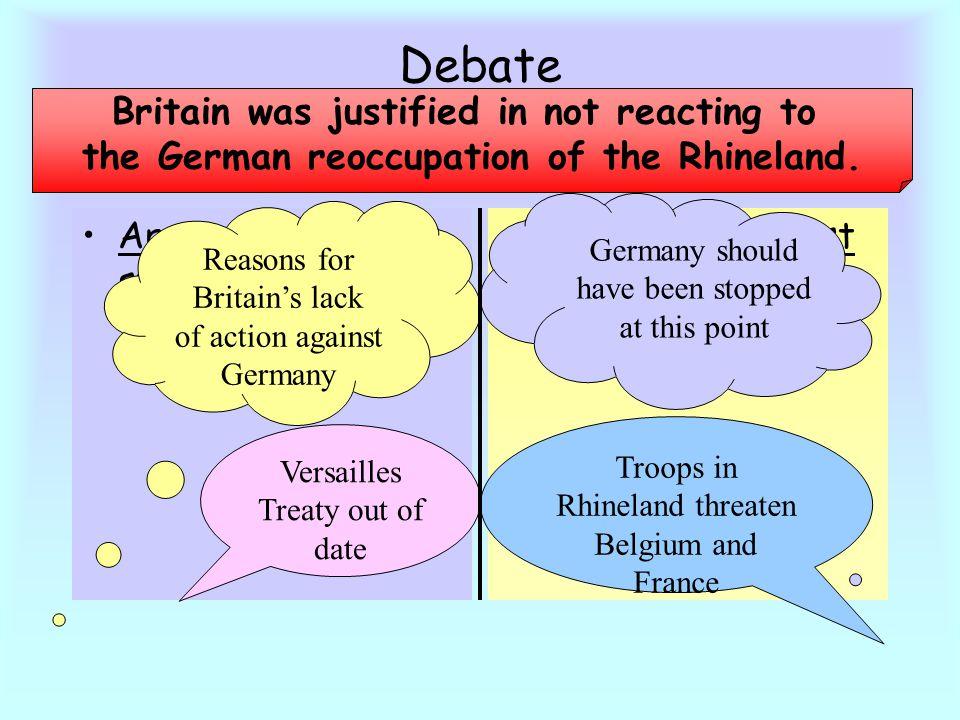 Debate Britain was justified in not reacting to