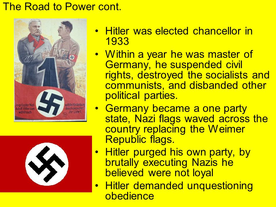 The Road to Power cont. Hitler was elected chancellor in 1933.