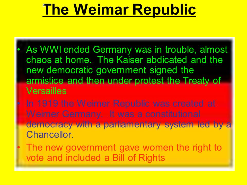 The Weimar Republic 4.