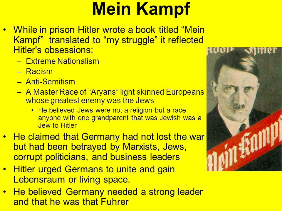 Mein Kampf While in prison Hitler wrote a book titled Mein Kampf translated to my struggle it reflected Hitler s obsessions: