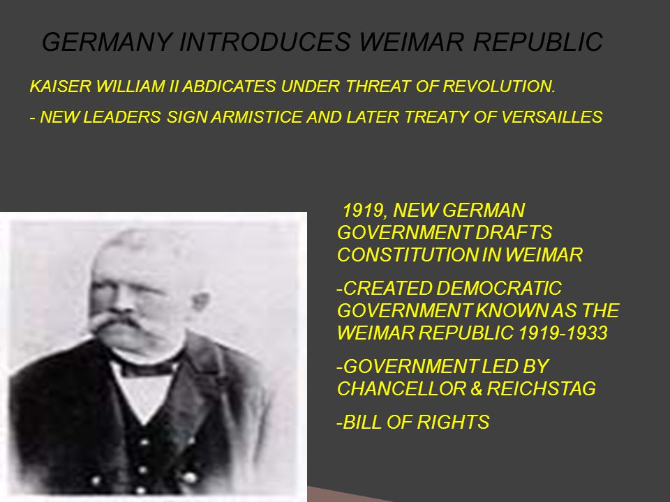 GERMANY INTRODUCES WEIMAR REPUBLIC