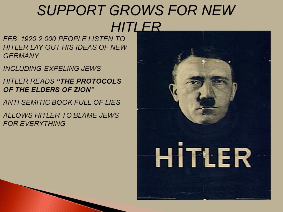SUPPORT GROWS FOR NEW HITLER
