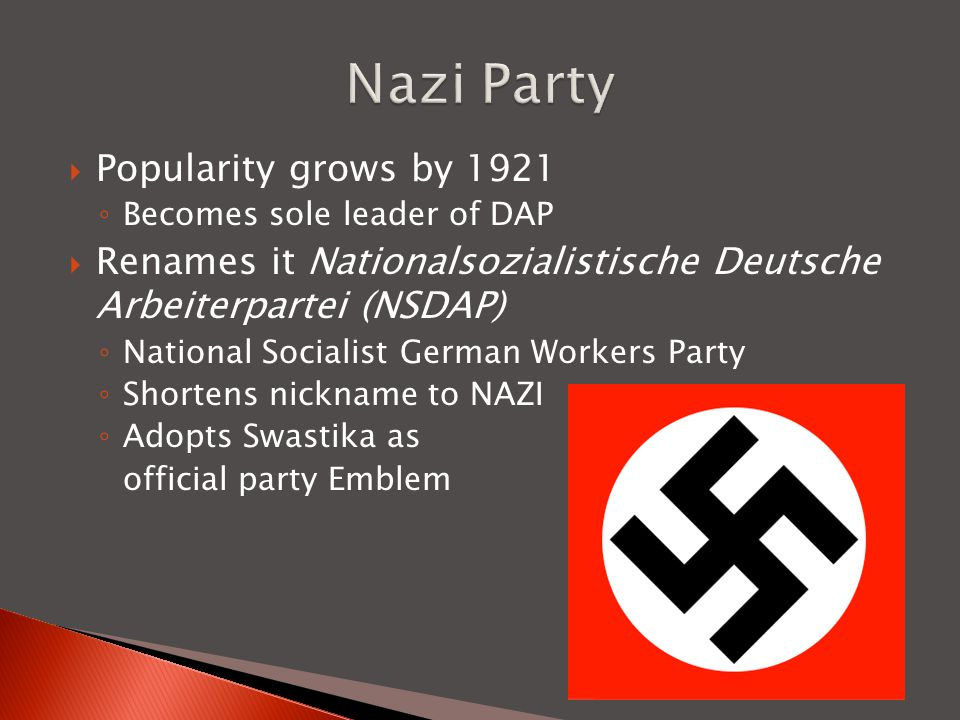 Nazi Party Popularity grows by 1921