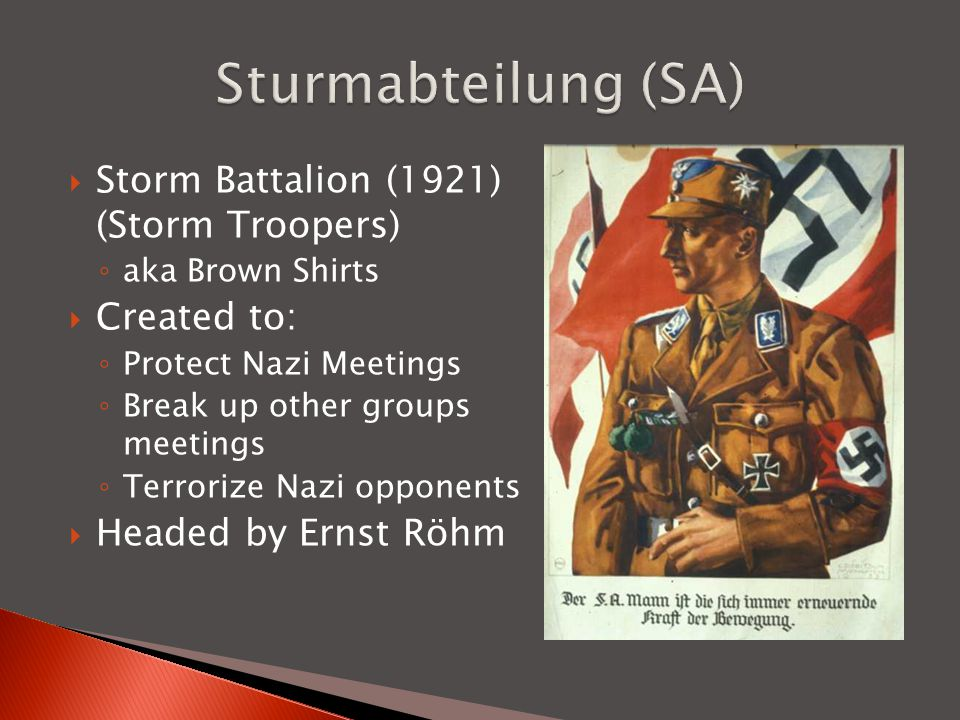 Sturmabteilung (SA) Storm Battalion (1921) (Storm Troopers)
