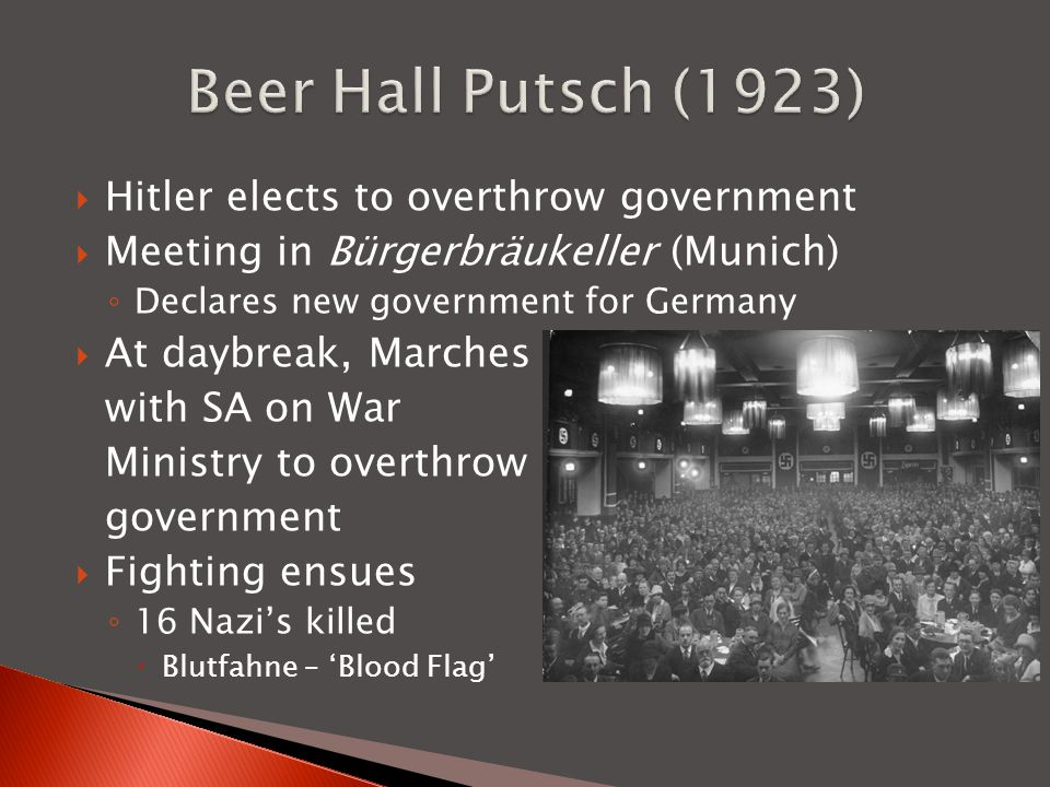 Beer Hall Putsch (1923) Hitler elects to overthrow government