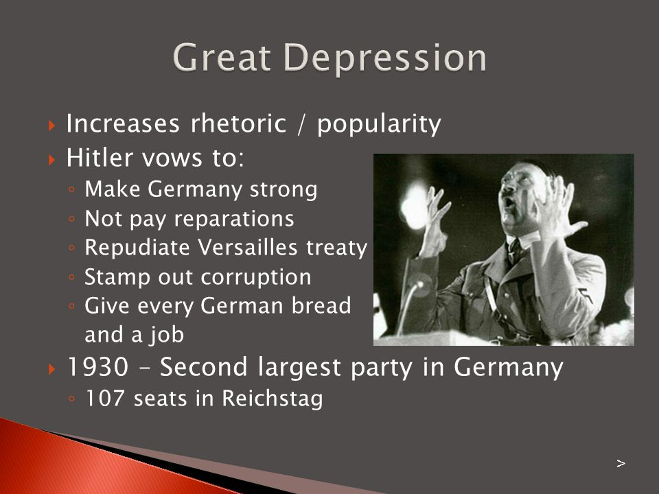 Great Depression Increases rhetoric / popularity Hitler vows to: