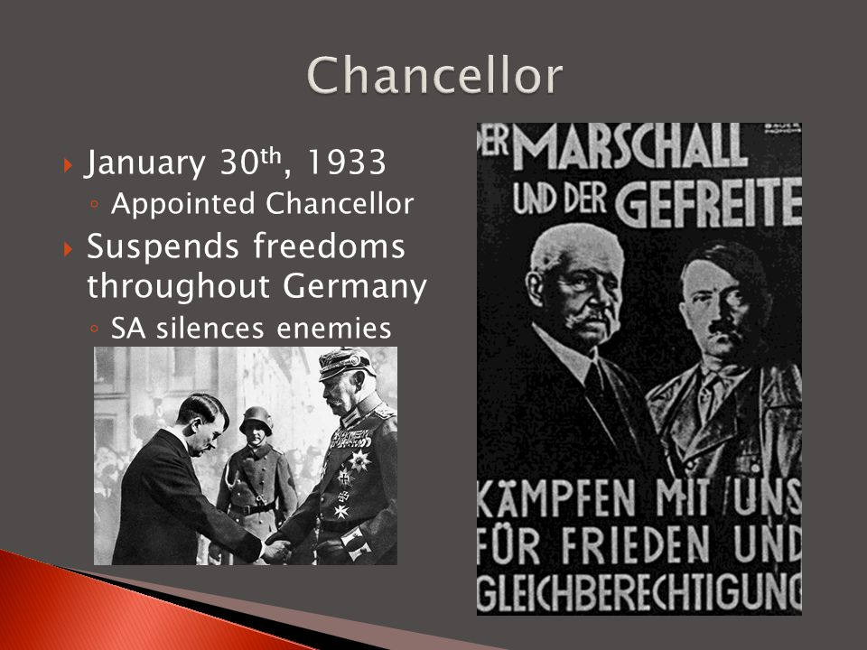 Chancellor January 30th, 1933 Suspends freedoms throughout Germany