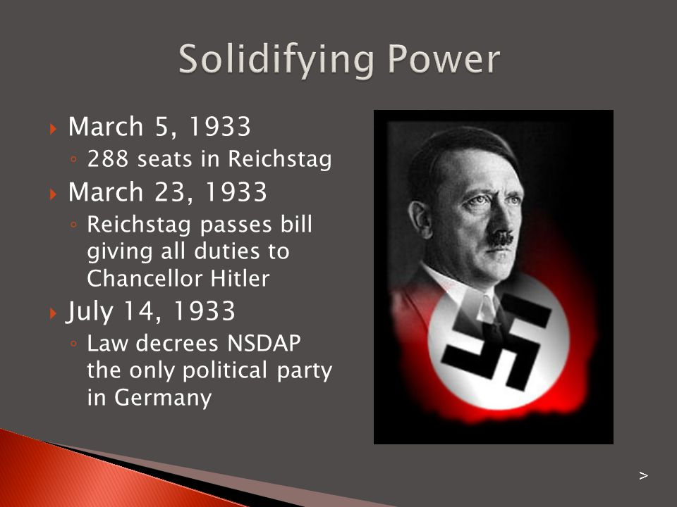 Solidifying Power March 5, 1933 March 23, 1933 July 14, 1933