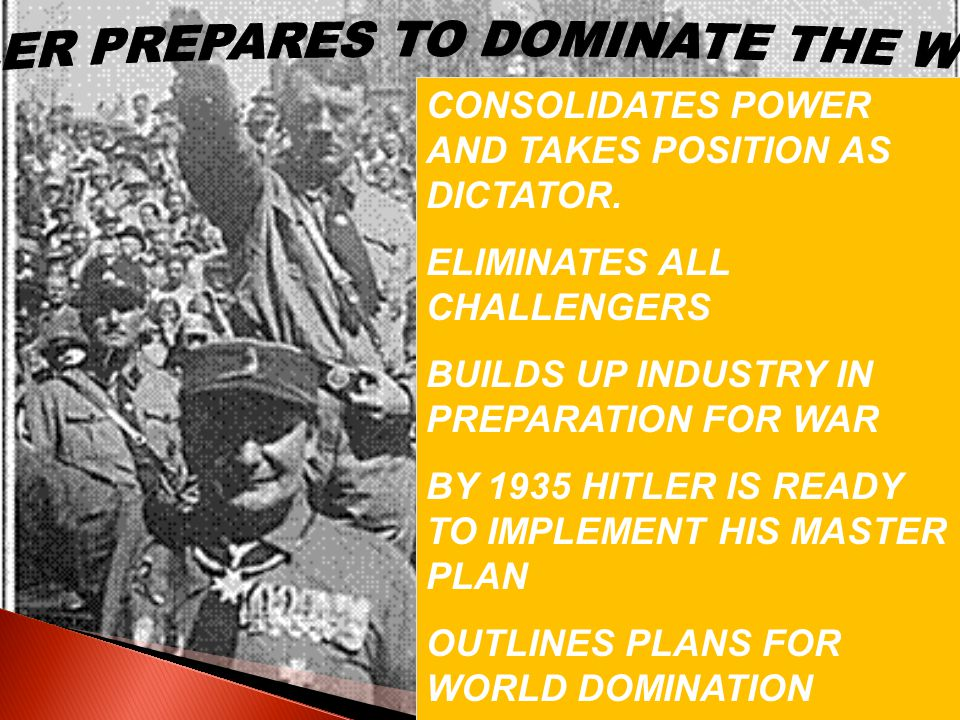 HITLER PREPARES TO DOMINATE THE WORLD