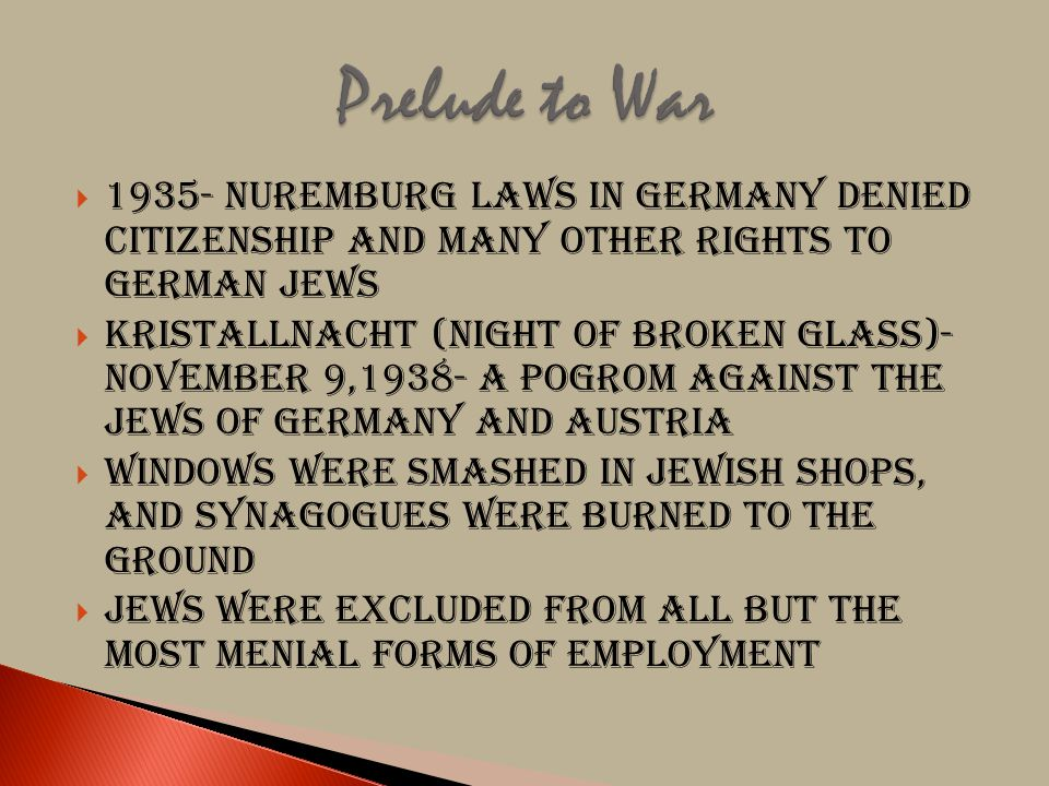 Prelude to War 1935- Nuremburg Laws in Germany denied citizenship and many other rights to German Jews.