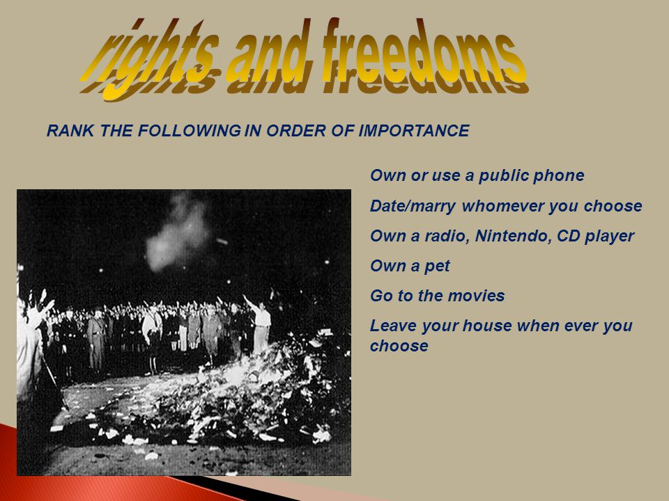 rights and freedoms RANK THE FOLLOWING IN ORDER OF IMPORTANCE
