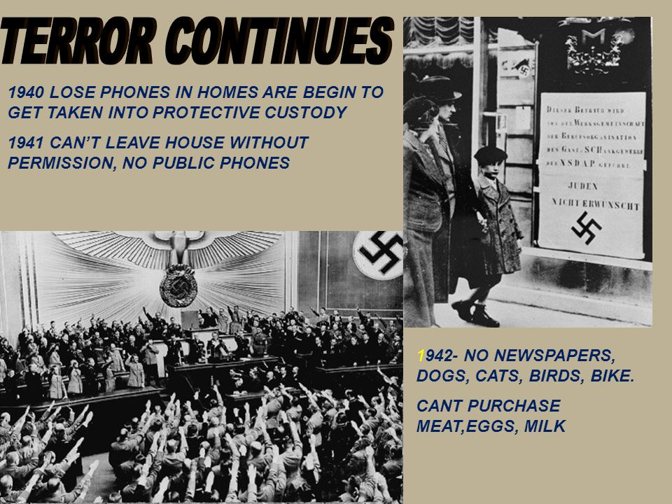 TERROR CONTINUES 1940 LOSE PHONES IN HOMES ARE BEGIN TO GET TAKEN INTO PROTECTIVE CUSTODY.