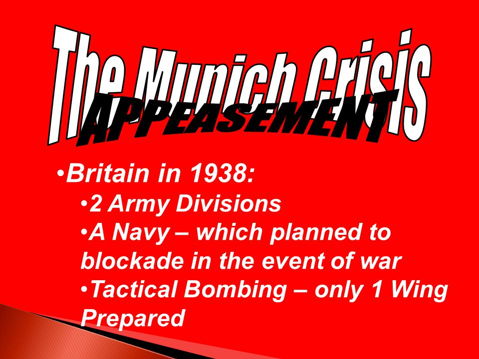 Britain in 1938: The Munich Crisis APPEASEMENT 2 Army Divisions