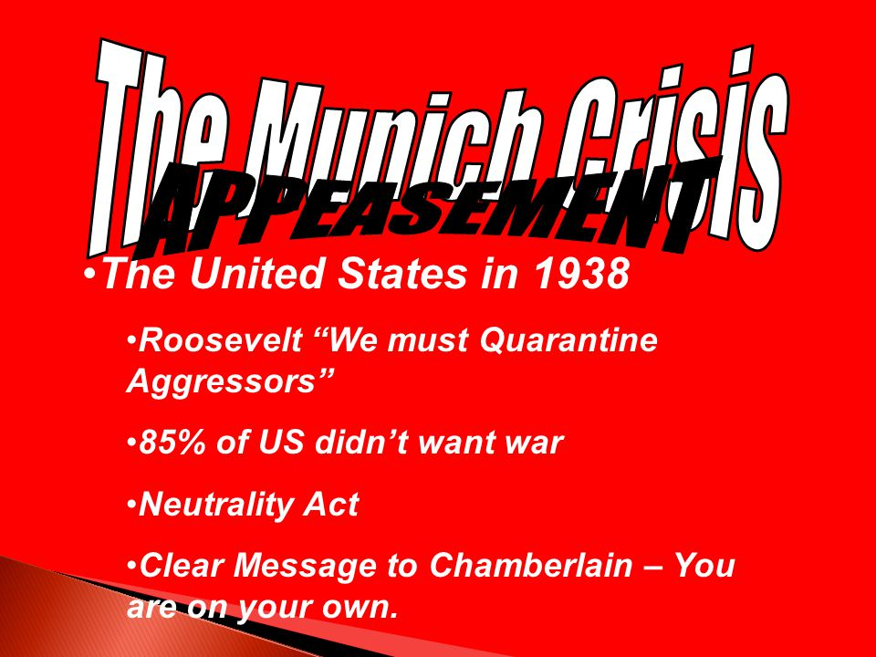 The Munich Crisis APPEASEMENT The United States in 1938