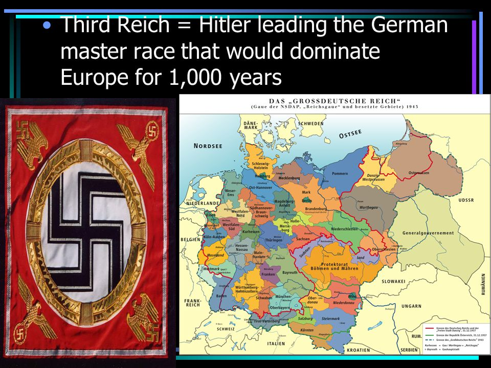 Third Reich = Hitler leading the German master race that would dominate Europe for 1,000 years