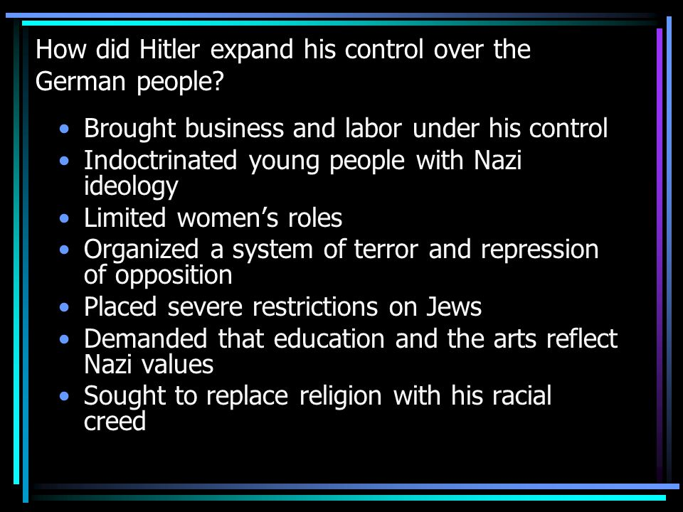 How did Hitler expand his control over the German people