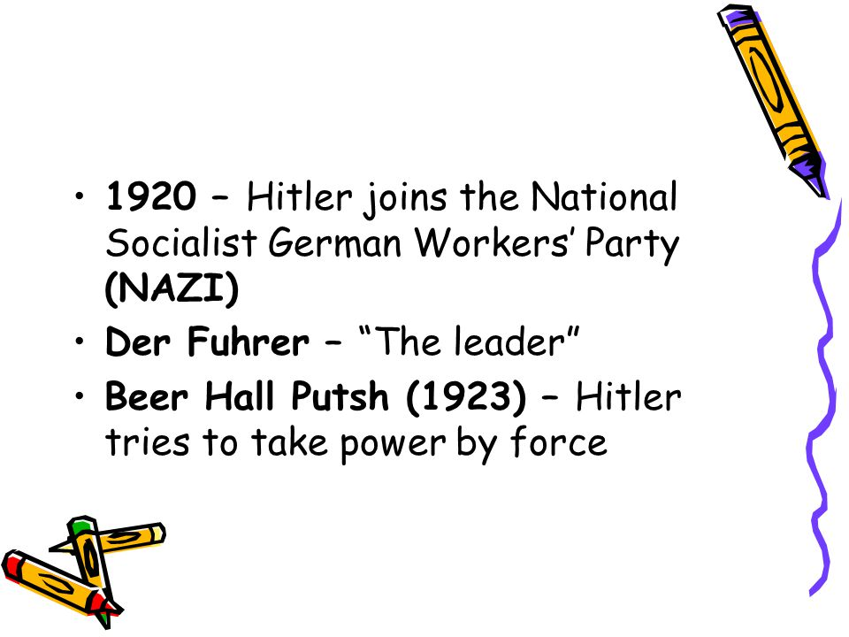 1920 – Hitler joins the National Socialist German Workers' Party (NAZI)