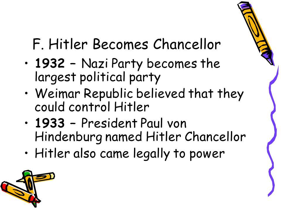 F. Hitler Becomes Chancellor