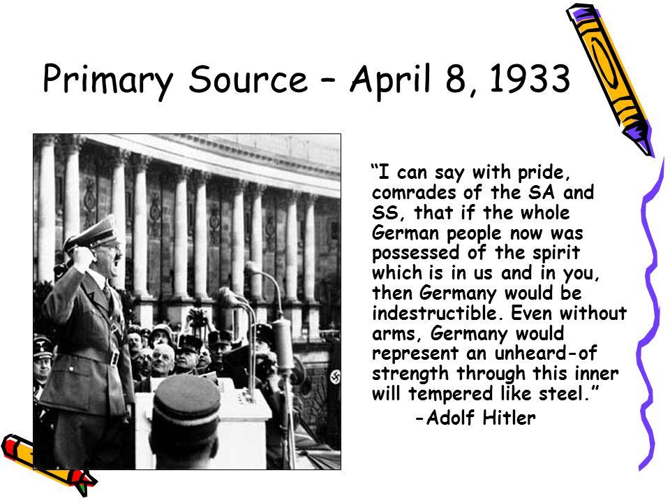 Primary Source – April 8, 1933