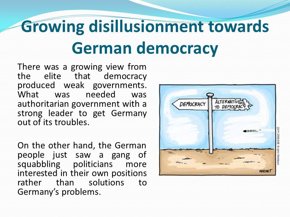 Growing disillusionment towards German democracy