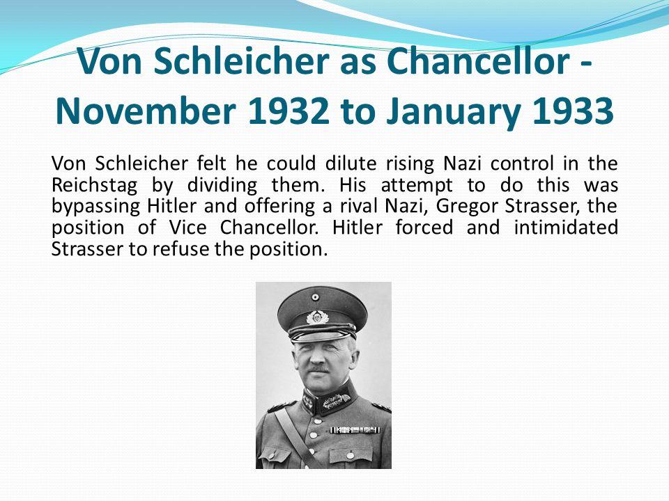 Von Schleicher as Chancellor - November 1932 to January 1933