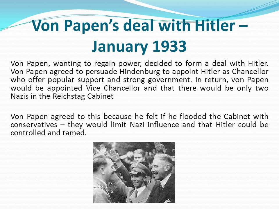 Von Papen's deal with Hitler – January 1933