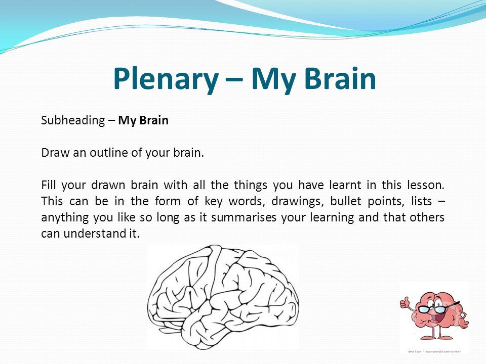 Plenary – My Brain Subheading – My Brain