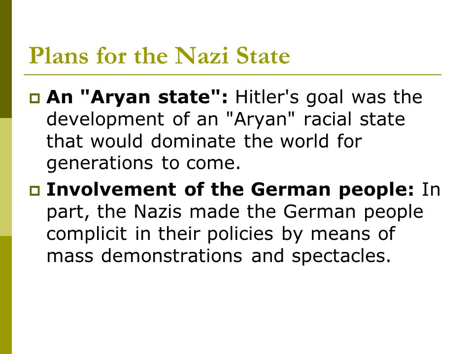 Plans for the Nazi State