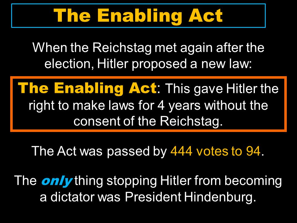 The Act was passed by 444 votes to 94.