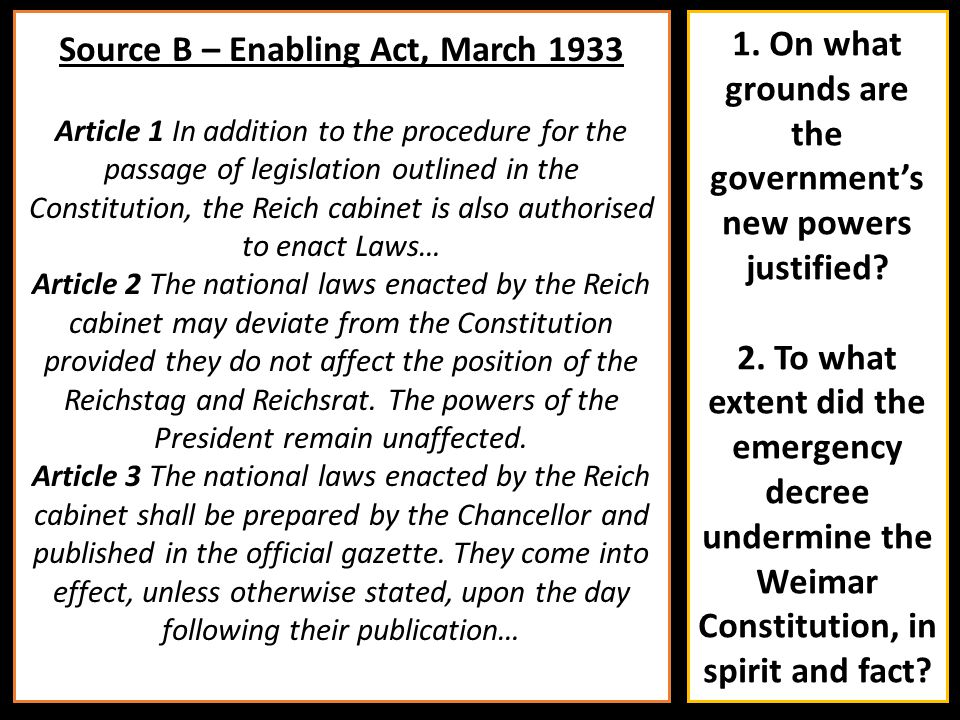 Source B – Enabling Act, March 1933