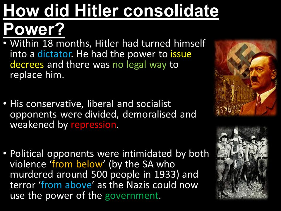 How did Hitler consolidate Power
