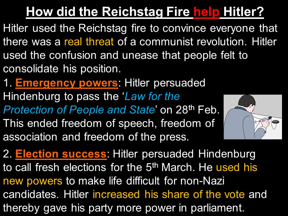 How did the Reichstag Fire help Hitler