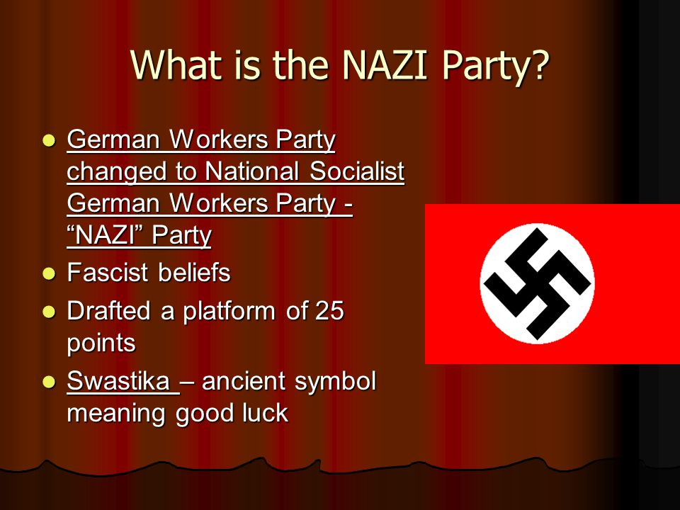 an analysis and history of the national socialist party the nazis National socialism as an ideology was syncretic it included both left and right-wing political elements in practice, it was decidedly far-right traditional socialism advocates worker's control of the means of production (ie economic democracy) the underhanded policies hitler implemented are certainly not representative of any genuine articulation.
