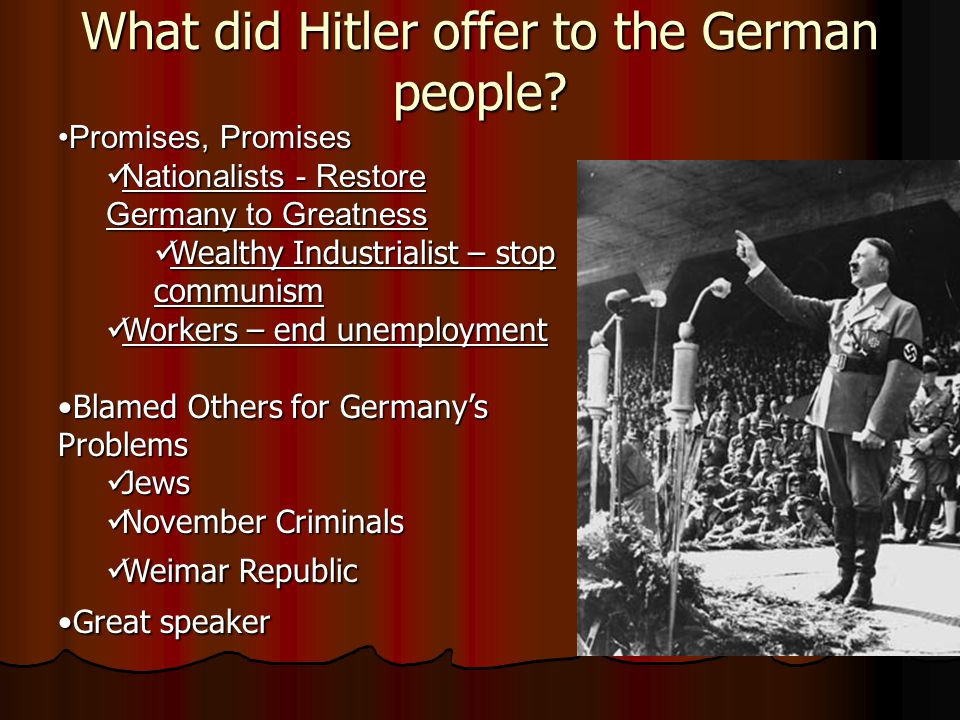 What kind of Germans did Hitler want?